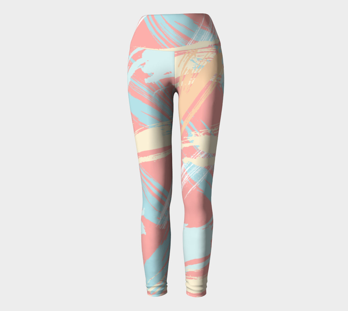 Pastel Abstract Brush Strokes Yoga Leggings preview