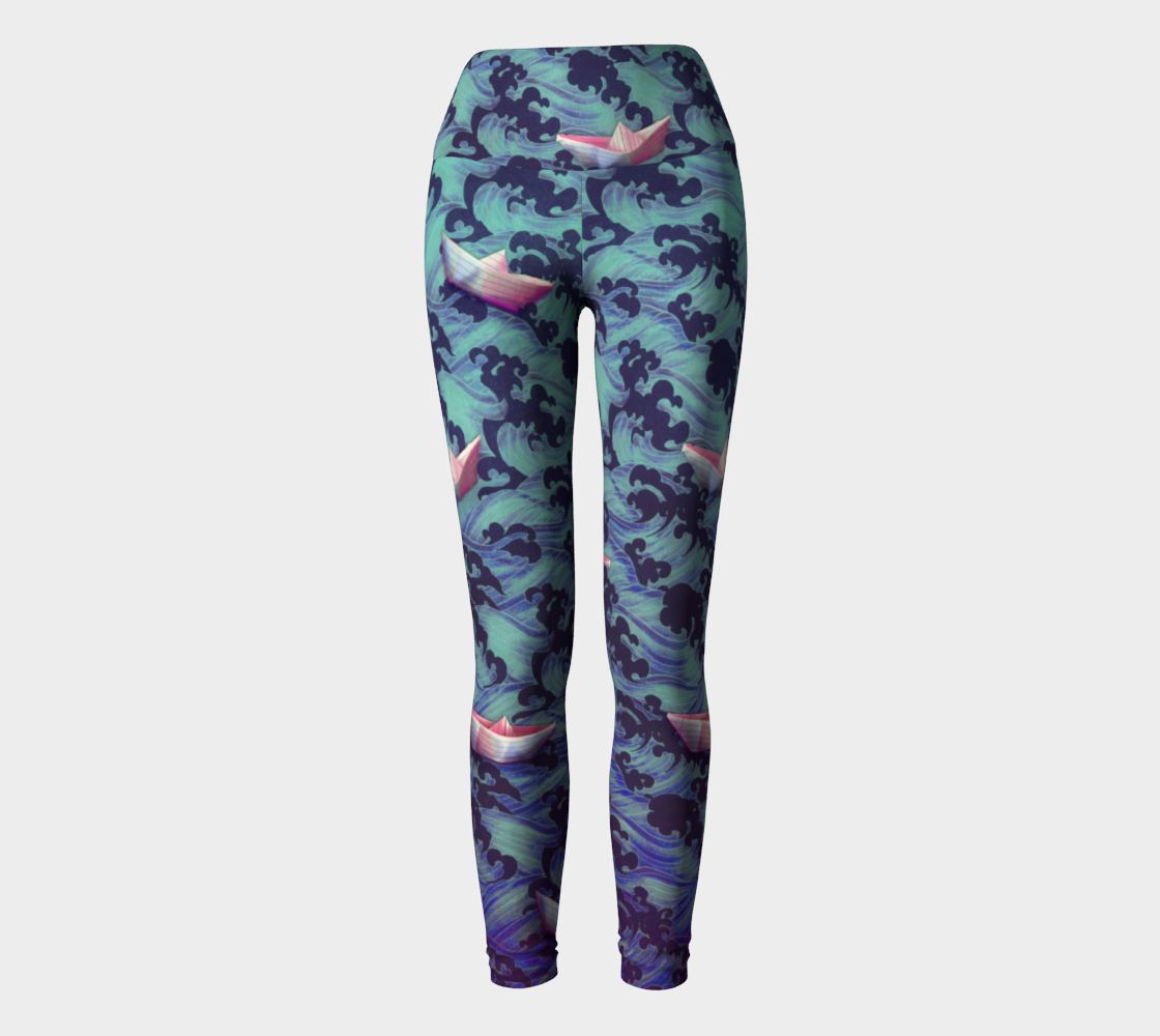 Japanese waves and paper boats Yoga legging preview