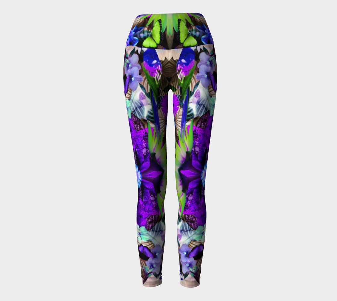 Tropical tribal yoga leggings preview