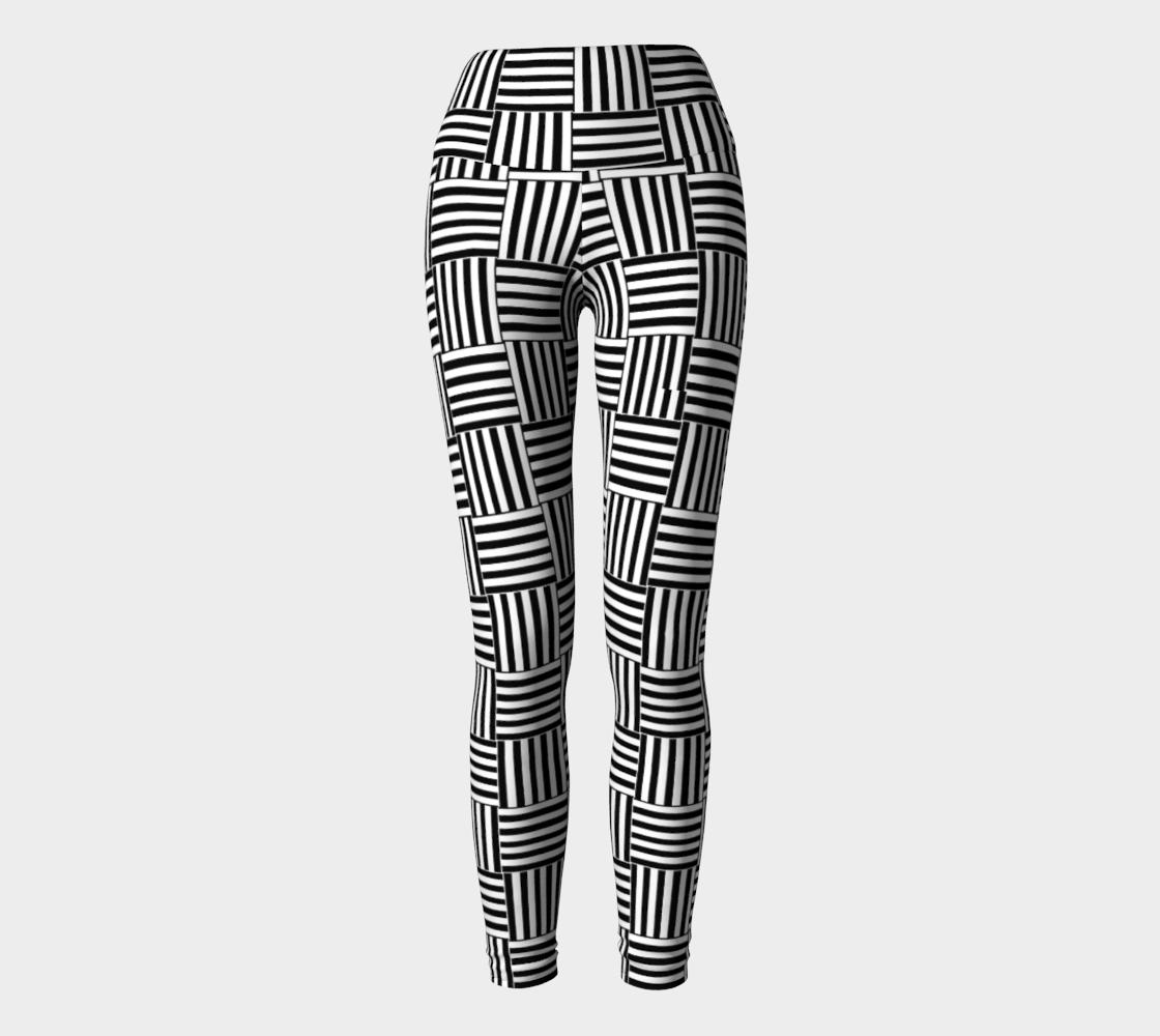 Aperçu de Jambière de yoga Abstrait Bandes Noir/Blanc
