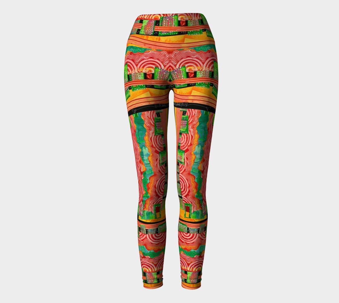 Yoga Leggings , high waist. Carnival Collage design preview