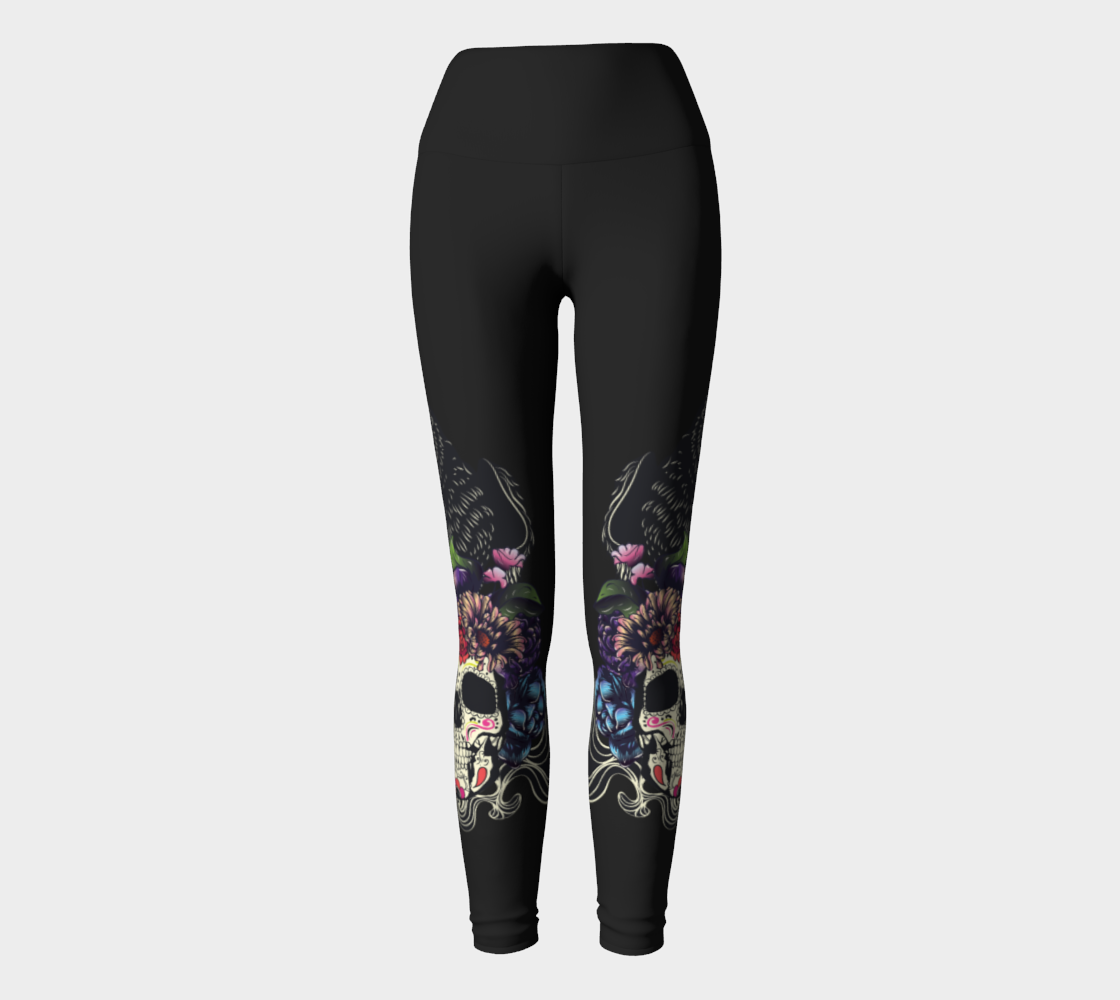 Colorful floral sugar skull with flowers and black raven preview