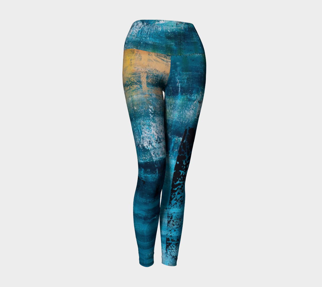 Yoga Leggings Blue Yellow Searock Art preview #1
