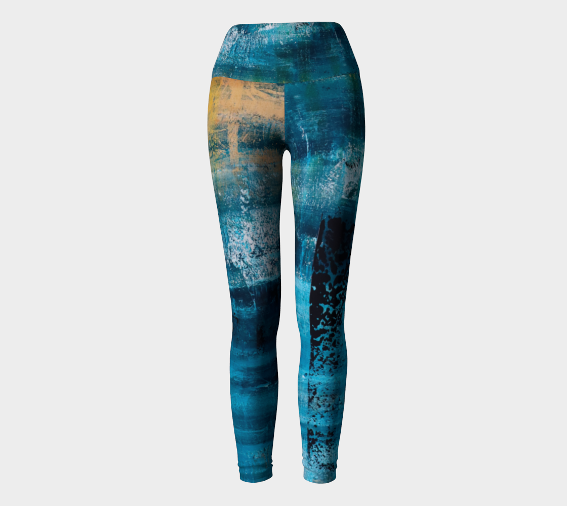 Yoga Leggings Blue Yellow Searock Art preview #2