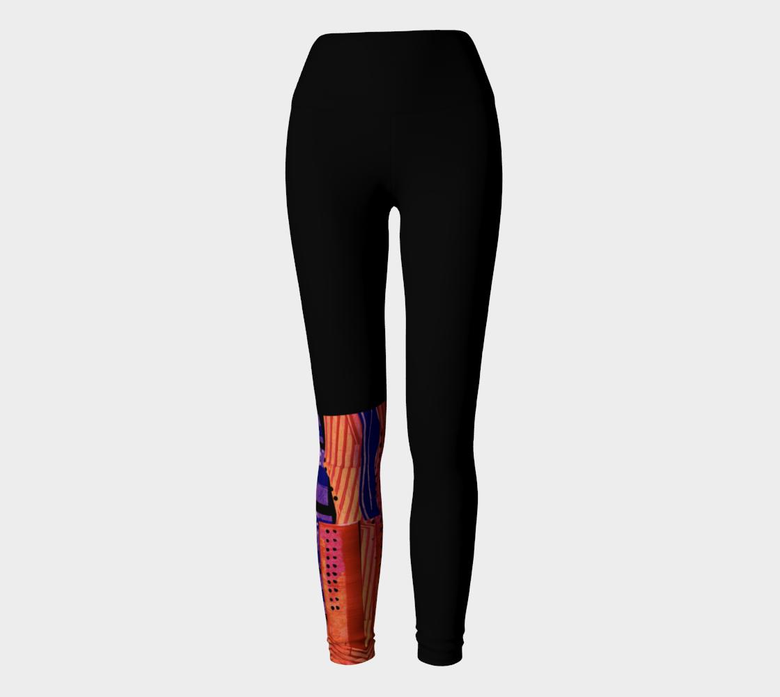 Yoga leggings, high waist. Cranberry Orange half leg collage  preview