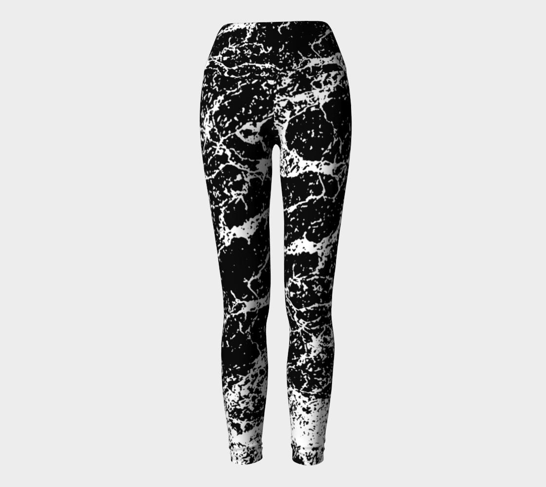 Black and White Abstract Textured Print Yoga Leggings aperçu