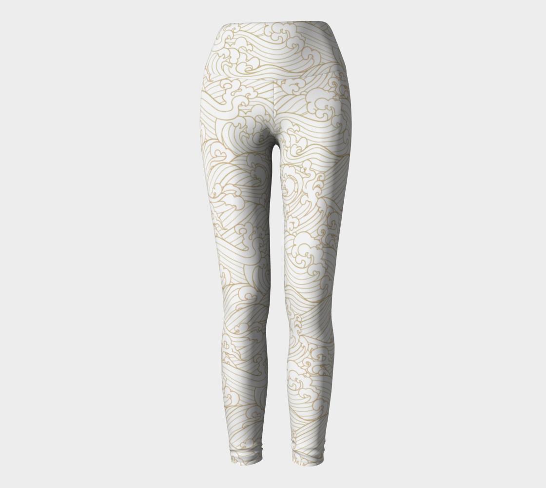 Golden Waves in White Yoga Leggings  preview