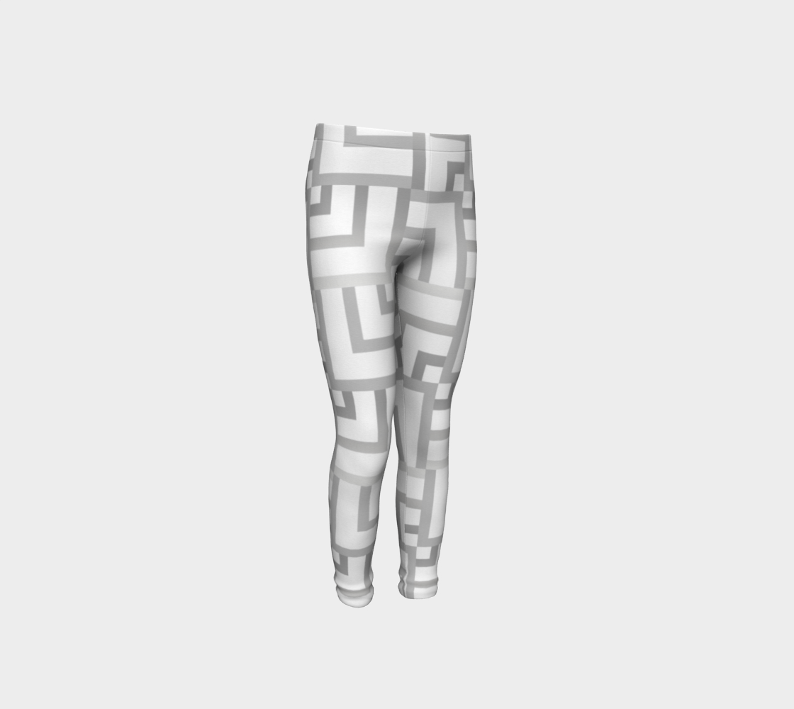 White and Silver Squares Youth Leggings preview