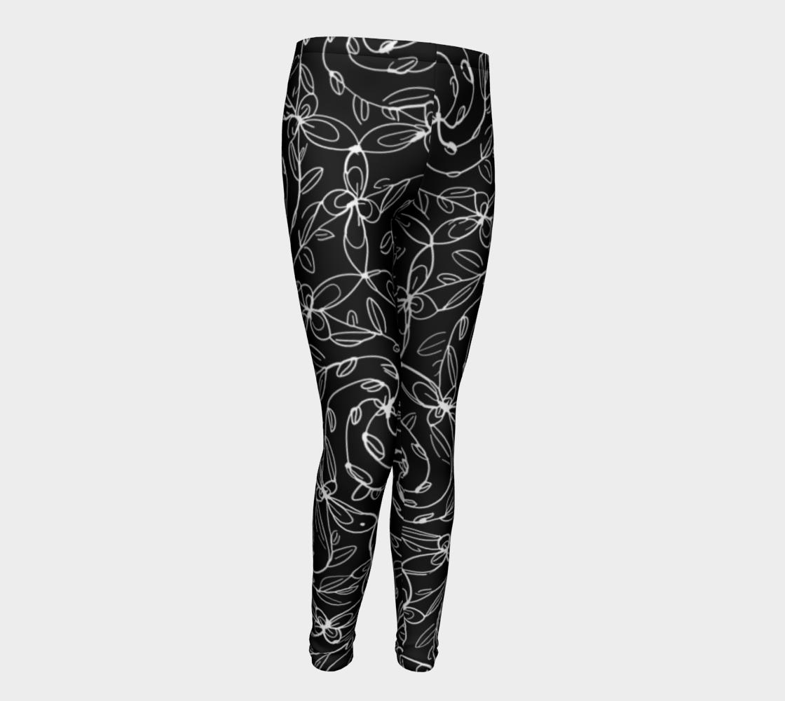 Aperçu de Spiral Vines, White and Black, Kids Leggings #1