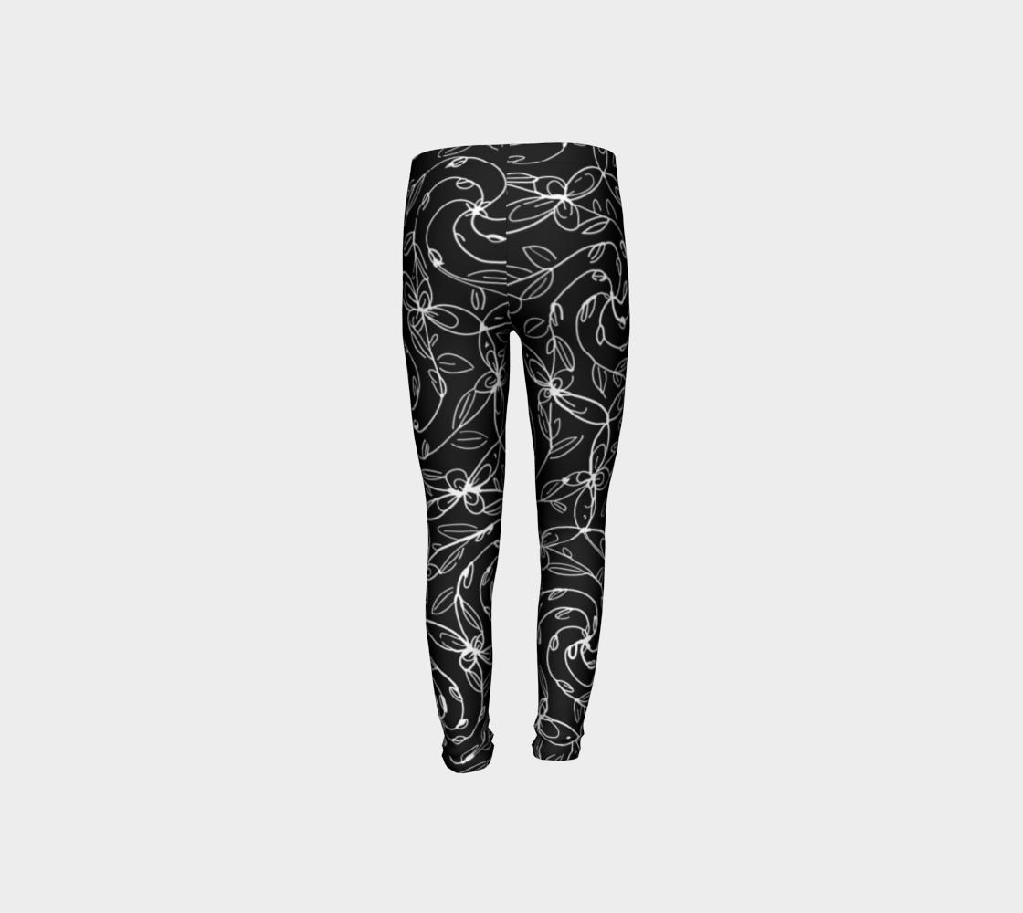 Aperçu de Spiral Vines, White and Black, Kids Leggings #8