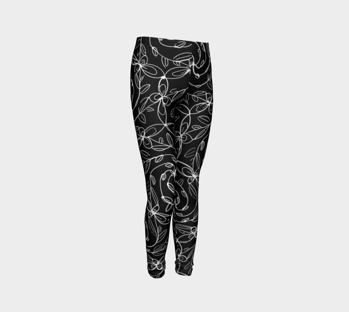 Aperçu de Spiral Vines, White and Black, Kids Leggings #3