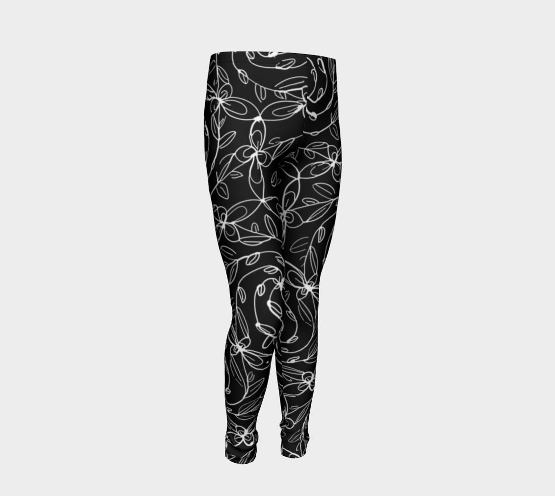 Aperçu de Spiral Vines, White and Black, Kids Leggings #2