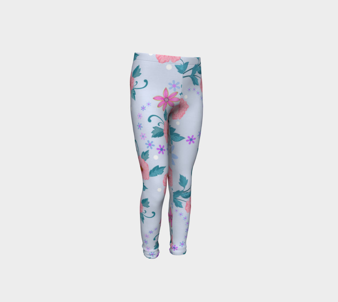 Sweet Kid's Leggings with Pink Flowers preview