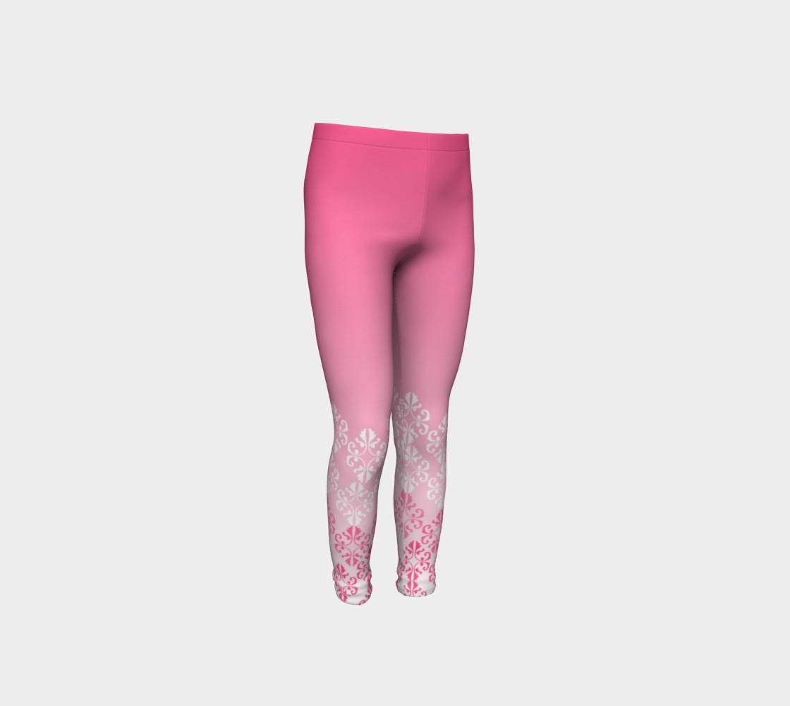 Pink Ombre Damask Pattern Youth Leggings preview