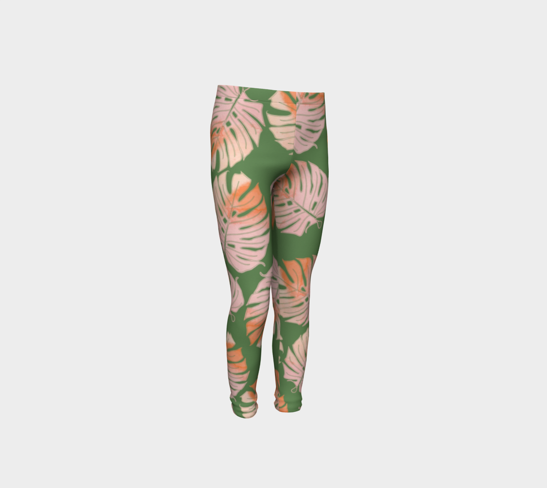 Tropical Leafs in Green and Coral Youth Leggings preview