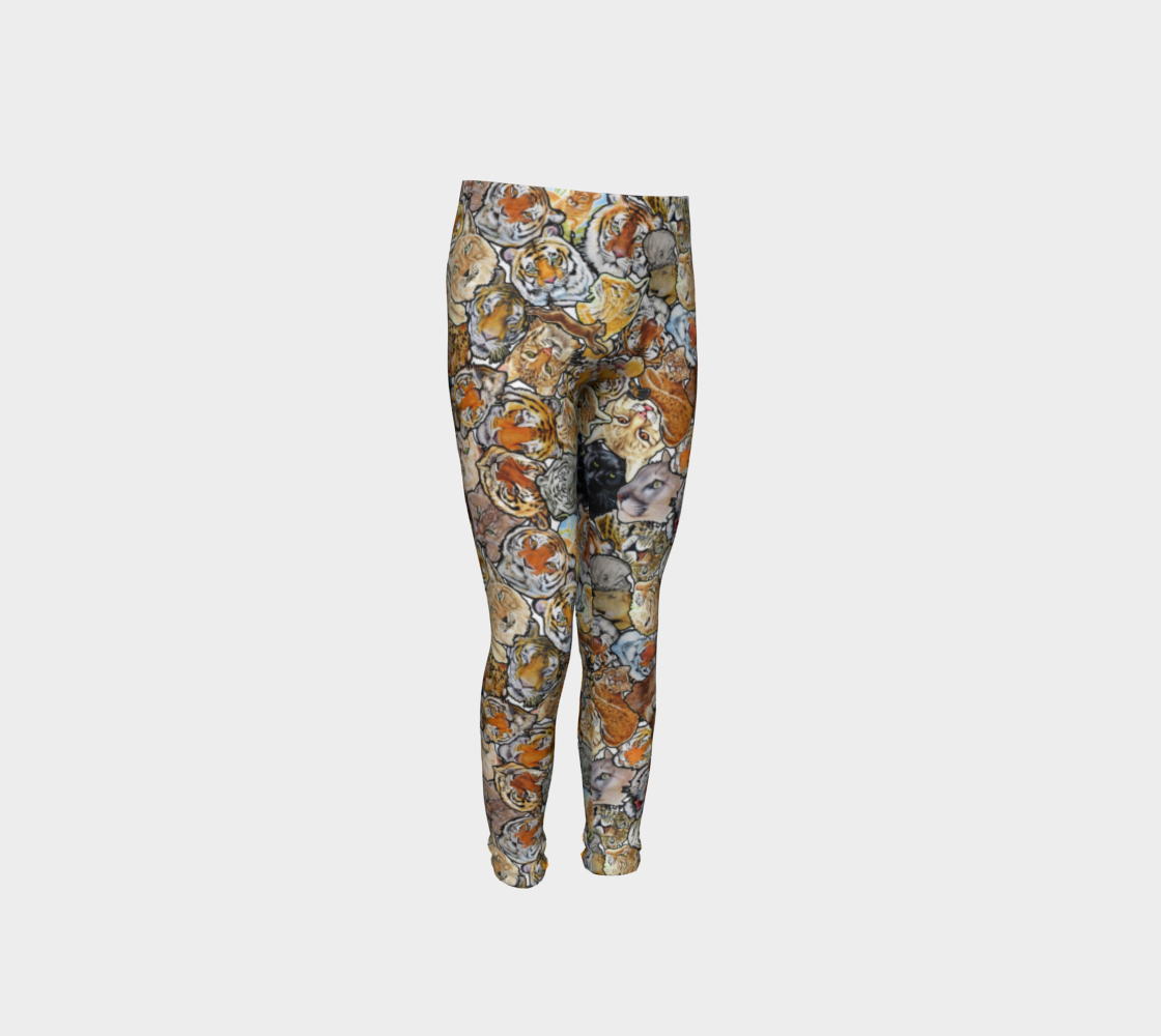 Big Cat Collage - youth leggings preview