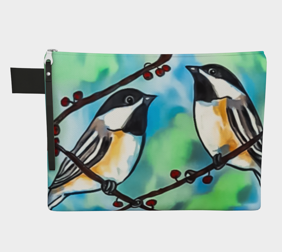 Watercolor Chickadees Zipper Carry-All  preview