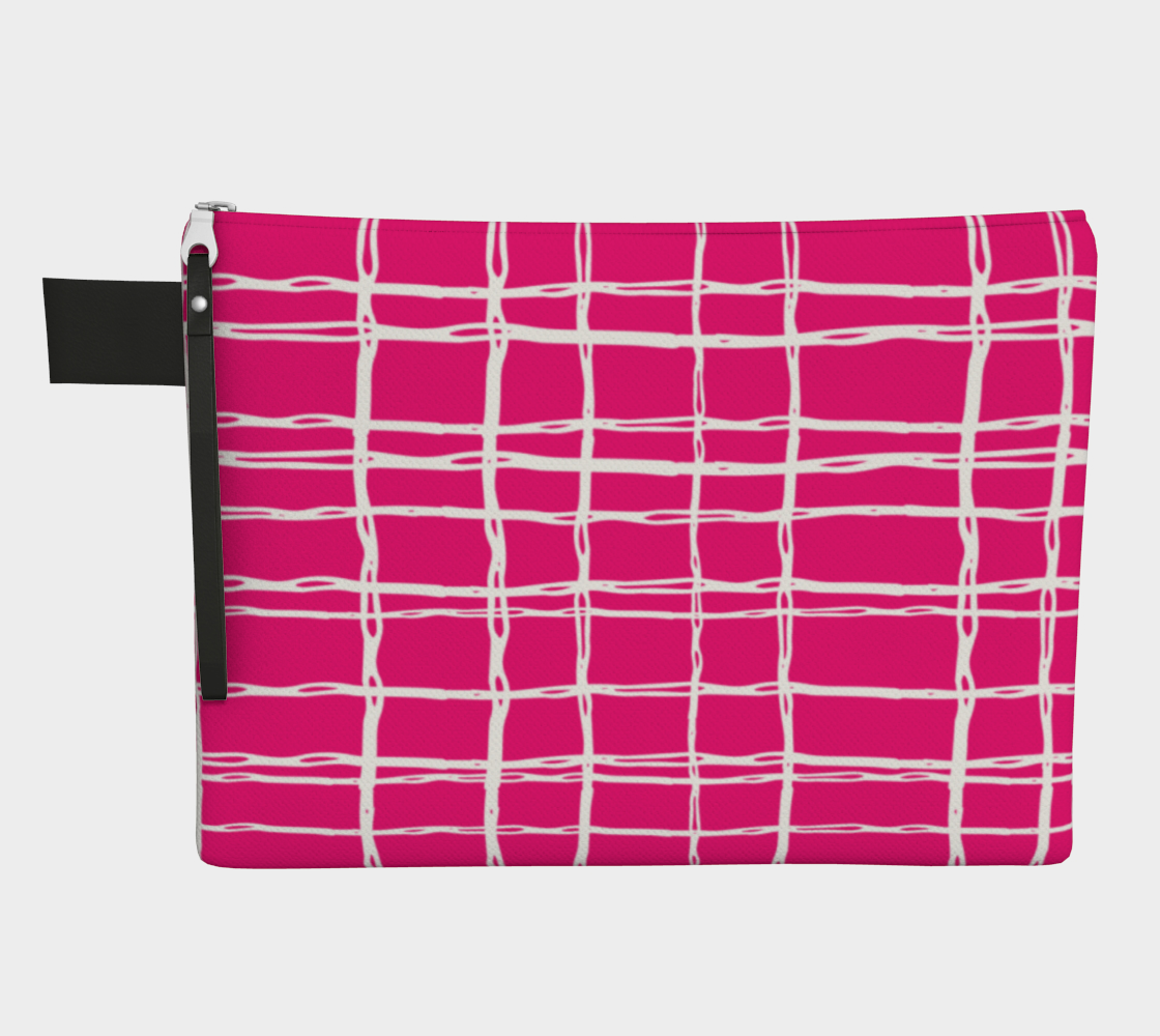 Pink and White Geometric Line Pattern Zipper Carry-All preview