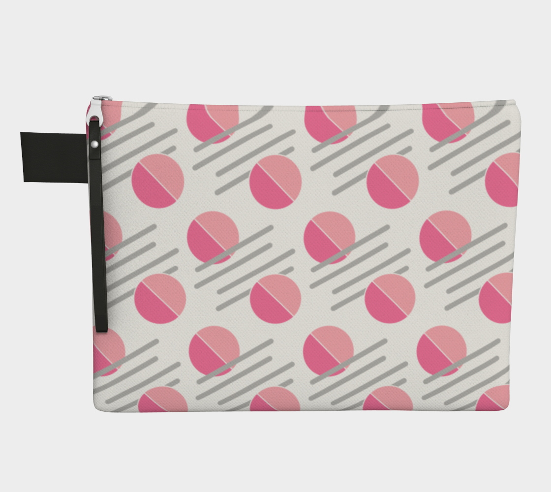 Modern Pink Circle Grey Line Abstract Zipper Carry-All preview