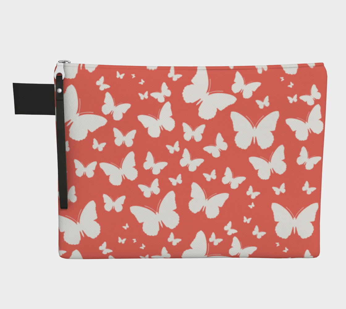 Butterflies in Coral and White Zipper Carry-All preview