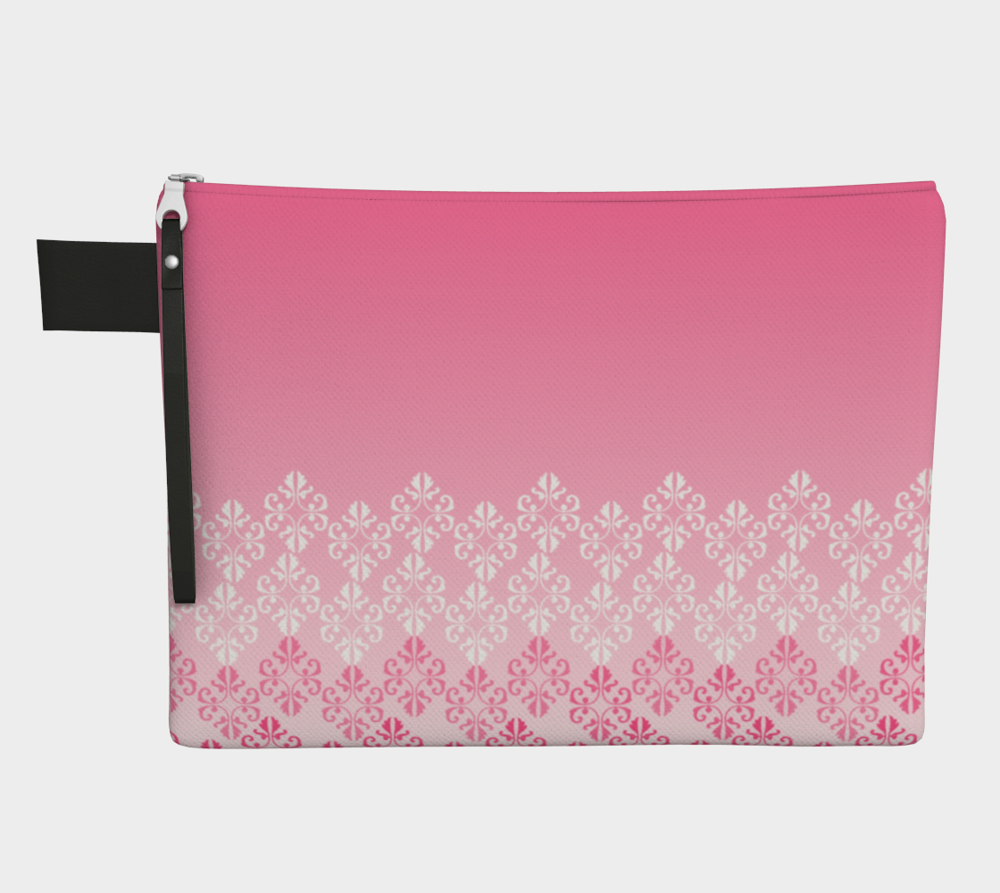 Pink Ombre Damask Pattern Zipper Carry-All preview