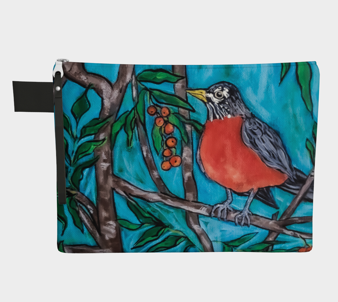 Robin in the Mountain Ash Zipper Carry-All preview