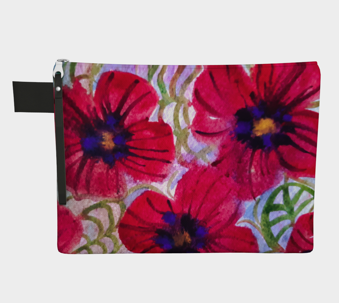 Watercolor Poppies Zipper Carry-All preview