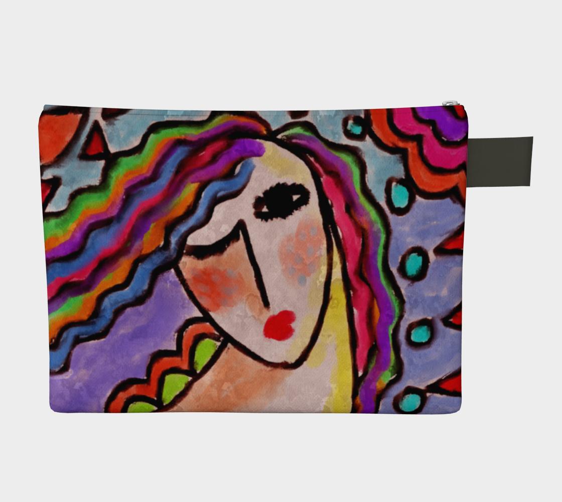 Aperçu de Colorful Abstract Portrait of a Woman Clutch Bag #2