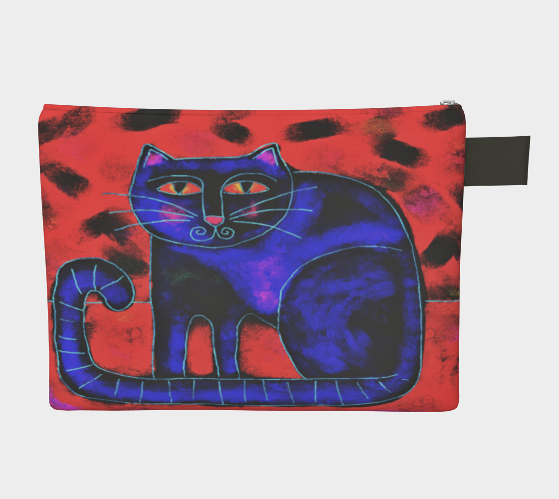 Funky Cat Abstract Art Clutch Purse Miniature #3