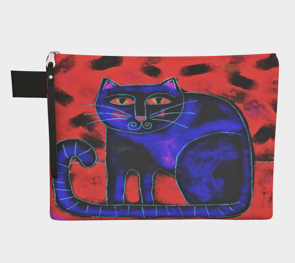 Funky Cat Abstract Art Clutch Purse Miniature #2