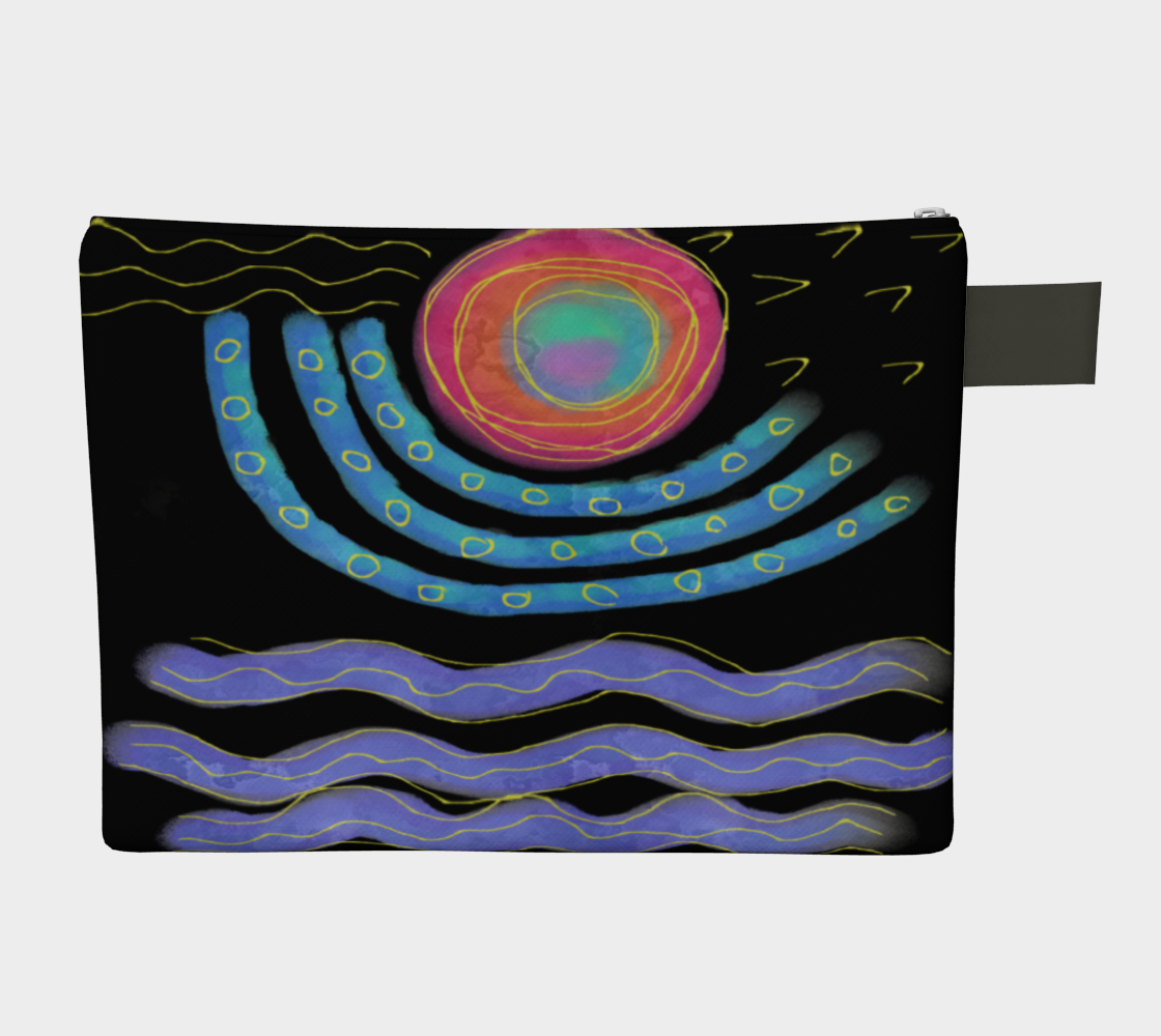 Aperçu de Colorful Abstract Sun Digital Print Clutch Purse #2
