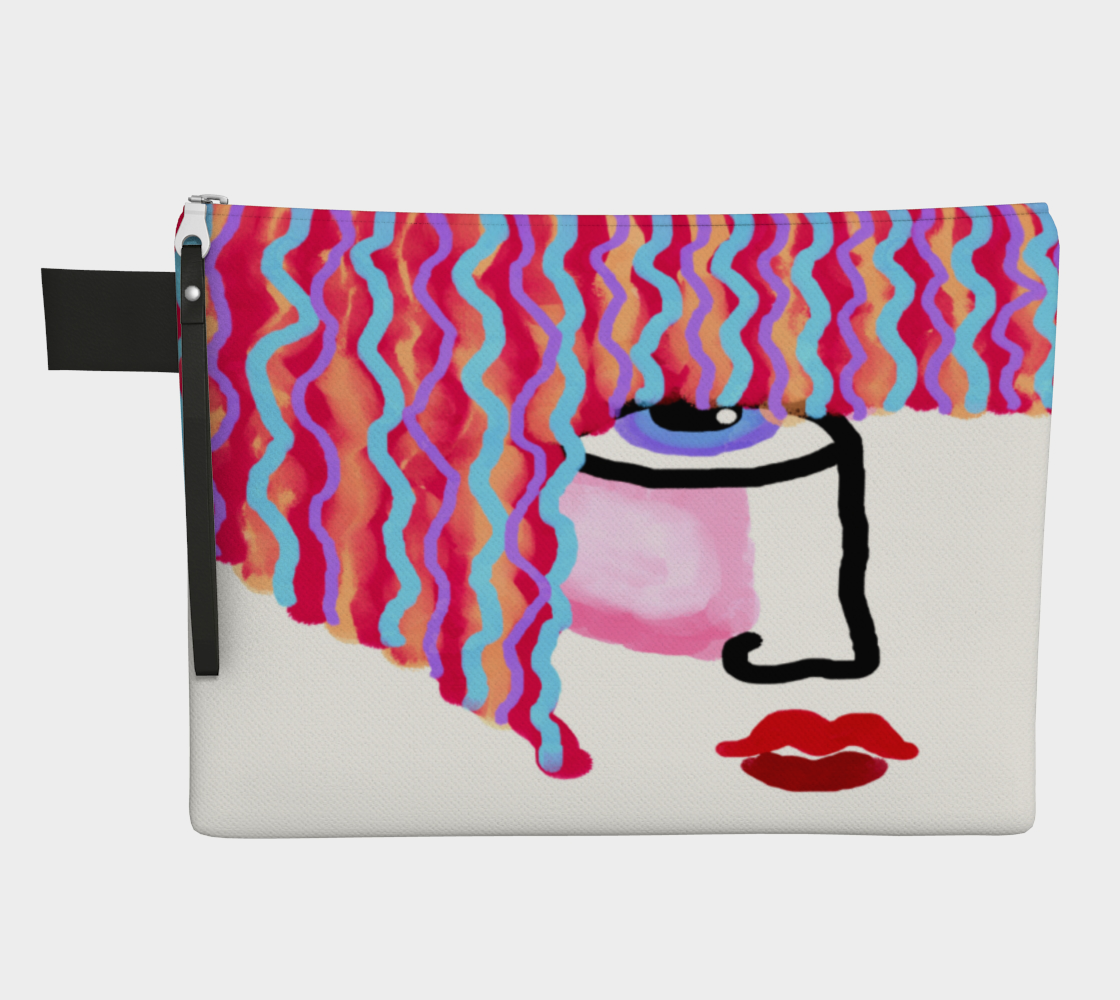 Wavy Red Hair Abstract Digital Painting Clutch Bag preview