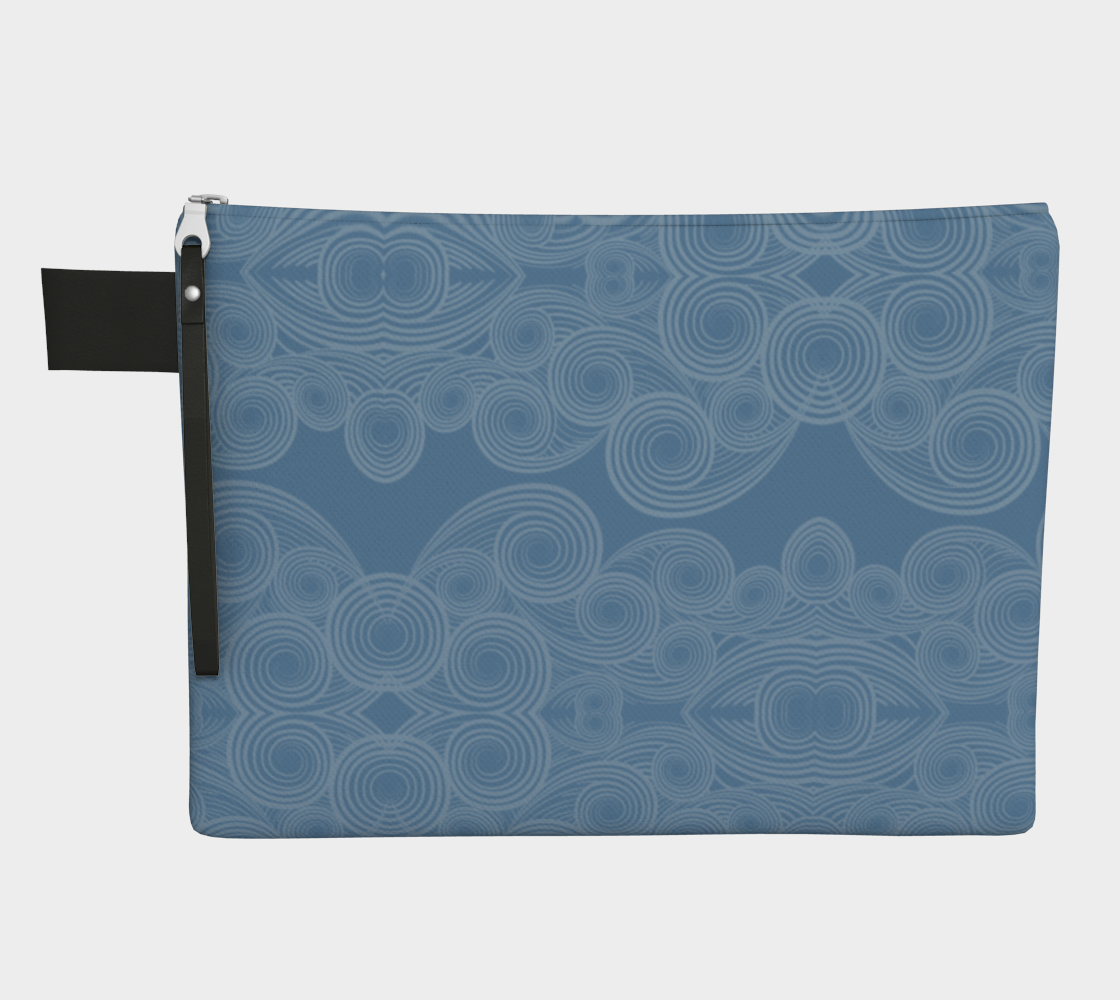 Swirly Light Blue Zipper Carry-All Bag Face Mask Storage Bag preview
