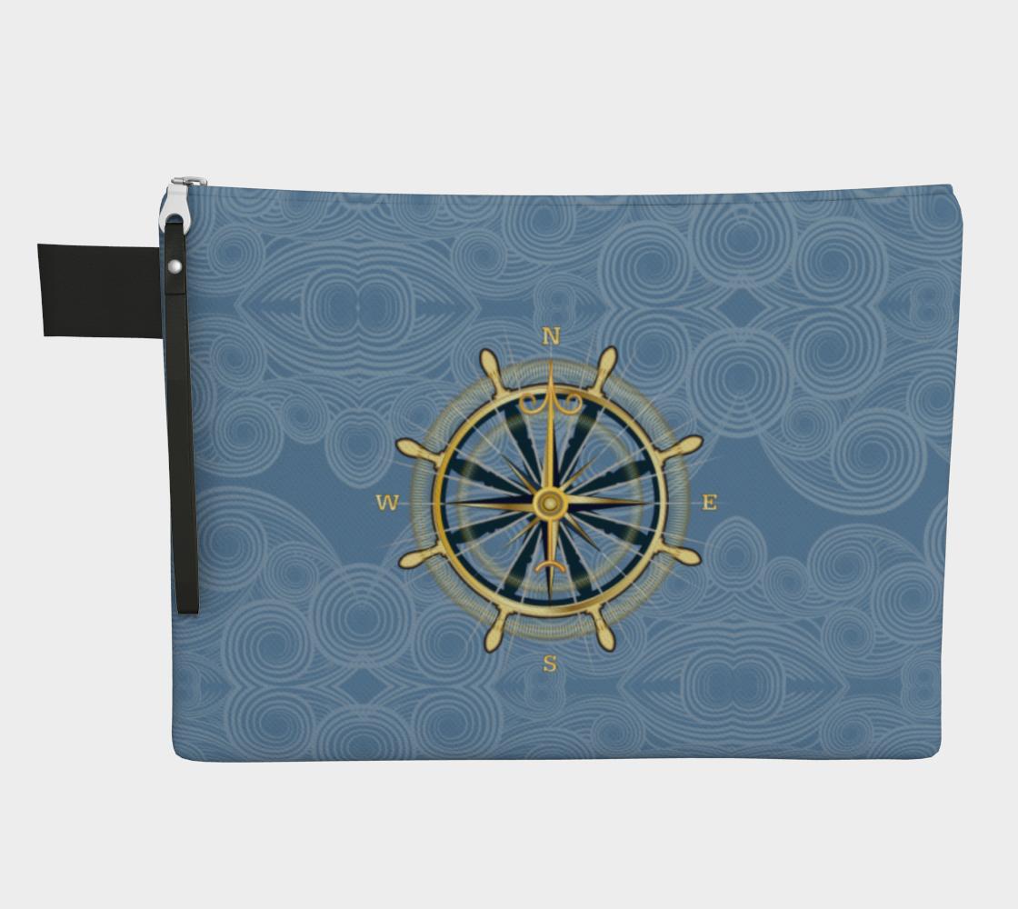 Nautical Theme Compass Rose Zipper Carry All Bag Face Mask Storage Bag preview