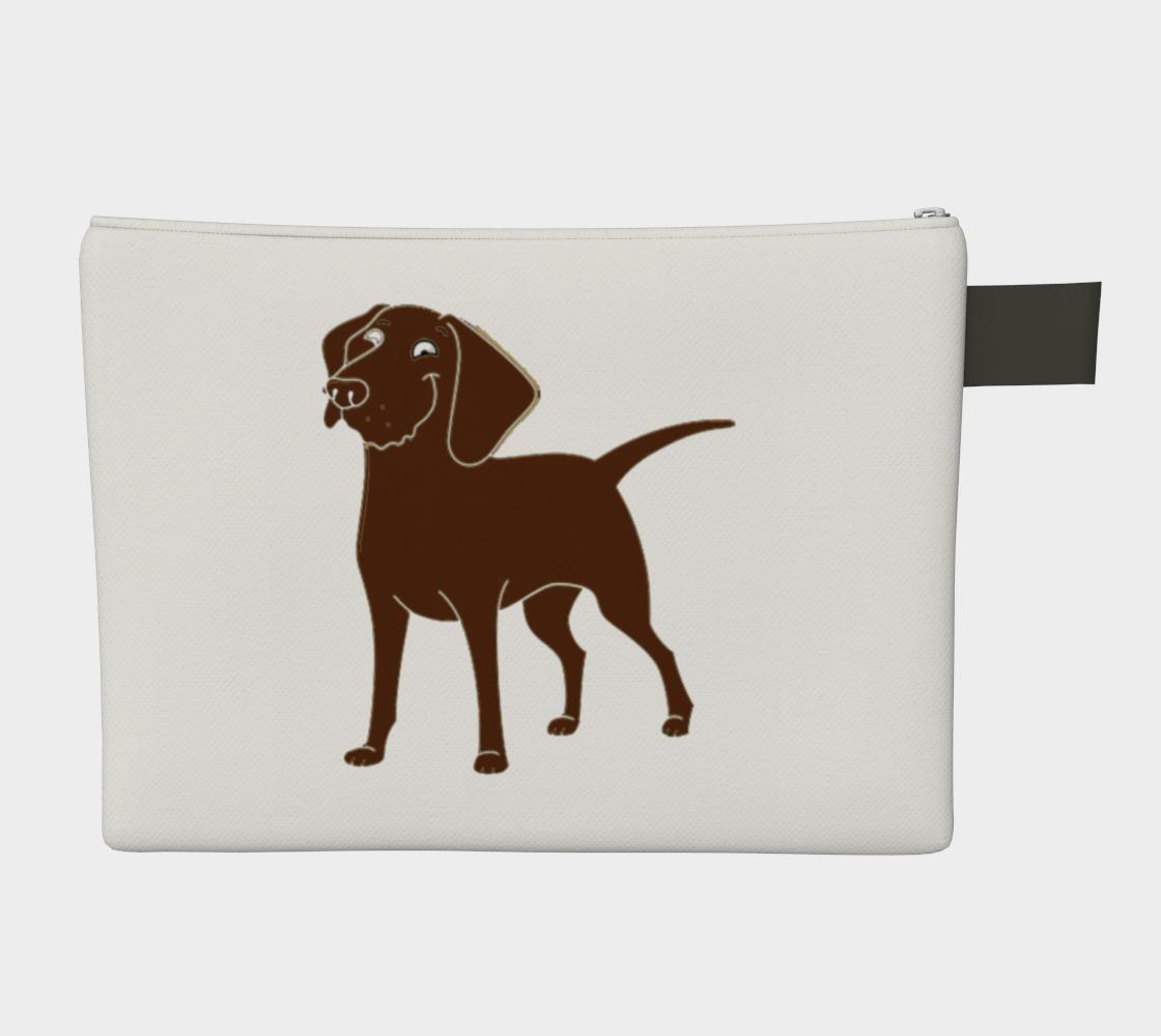 Labrador Retriever chocolate cartoon zipper carry-all pouch preview #2