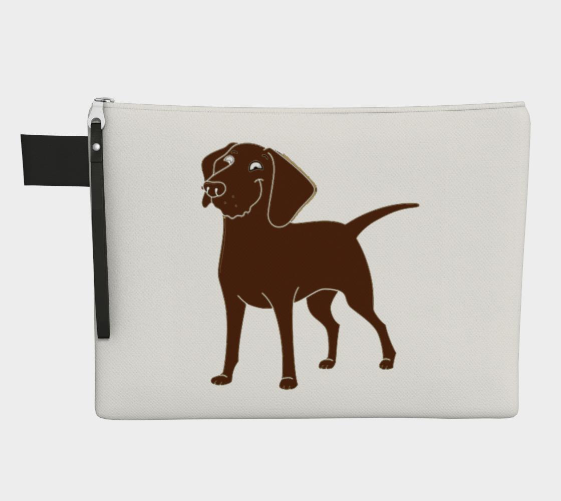 Labrador Retriever chocolate cartoon zipper carry-all pouch preview