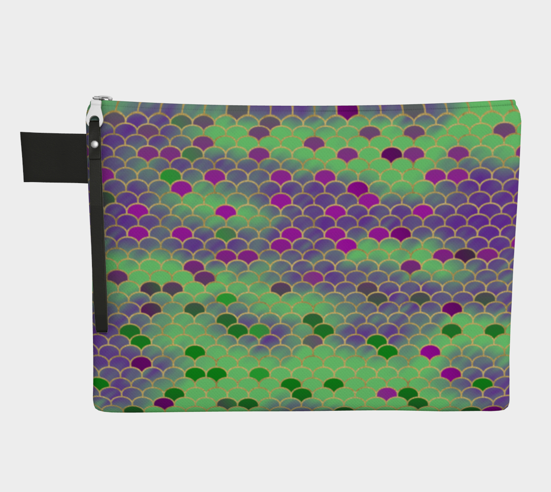 Green and Purple Mermaid Scales Zipper Carry-all preview