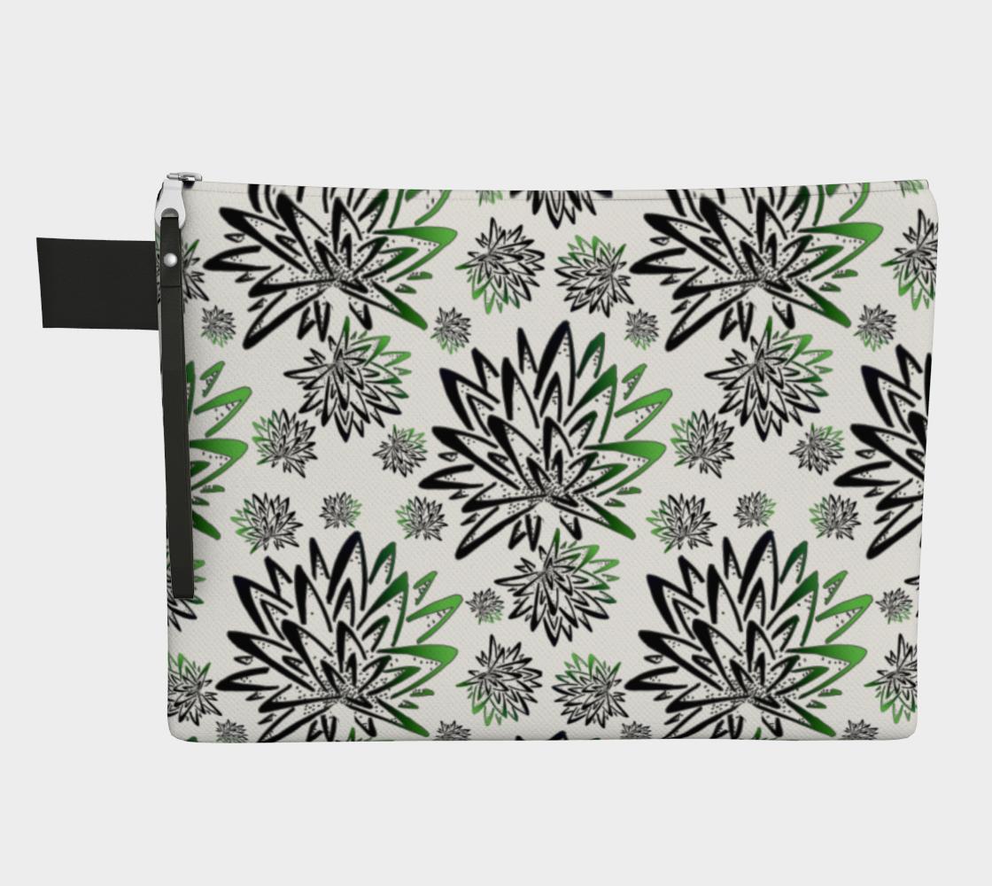 Aperçu de Abstract Green Thistles Pattern Zipper Carry-All