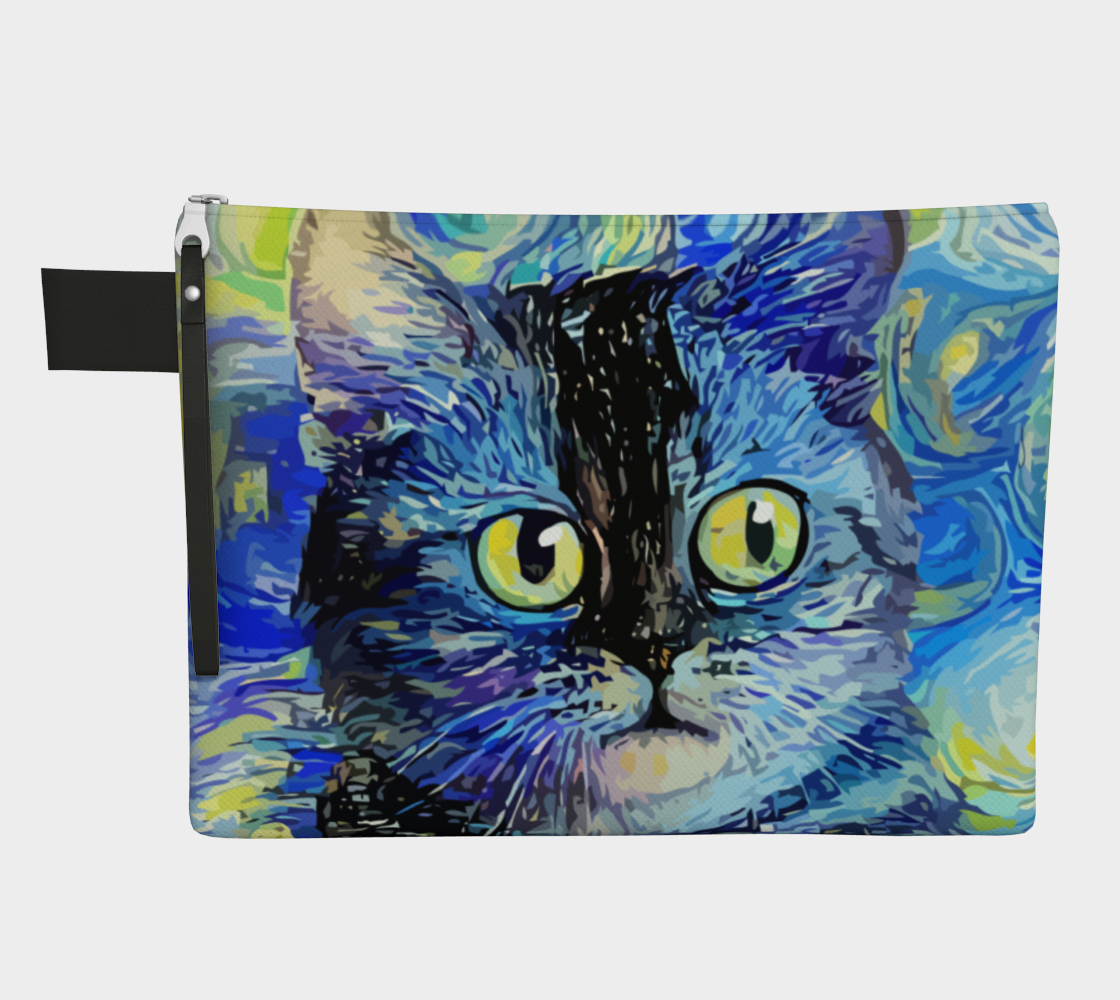 Impressionist Style Starry Night Tabby Cat Portrait Painting preview