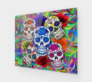 Sugar Skulls Circular Colorful Geometric Abstract Art Print aperçu