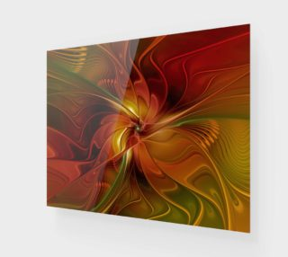 Abstract Red Orange Brown Green Fractal Art Flower preview