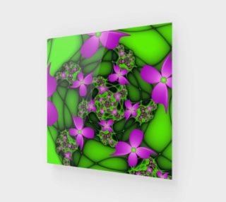 Modern Abstract Neon Pink Green Fractal Flowers preview