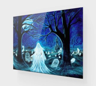 Halloween ghosts in graveyard art print preview