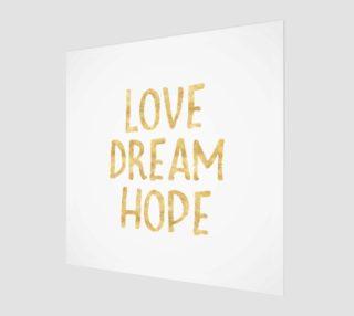 Aperçu de Love Dream Hope Gold Glam Inspirational Quote