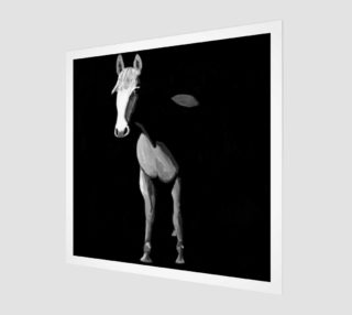 Black and white horse painting wood print 1:1 preview