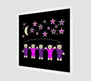Purple and Pink Sleepy Bears Wall Art preview