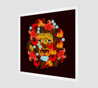 Lion , which consists of the flowers on a black background. Petrikovskaya painting, Ukrainian painting preview