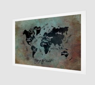 Map of the World art print aperçu
