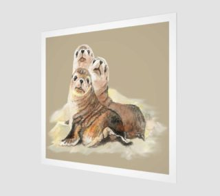 Aperçu de Cute Watercolor Seal Family Animal Art