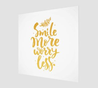 Smile More Worry Less Gold Typography preview
